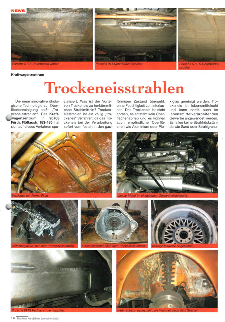 Artikel Auto und Biker Journal zu Trockeneisstrahlen, Unterbodenschutz und Hohlraumversiegelung
